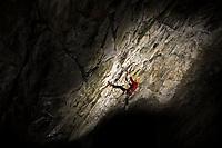 Fiona Murray climbs at the Newtyle Quarry, Scotland