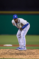 Dunedin Blue Jays pitcher Julian Valdez (48) during a game against the Clearwater Threshers on May 18, 2021 at BayCare Ballpark in Clearwater, Florida.  (Mike Janes/Four Seam Images)