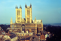 Lincoln: Lincoln Cathedral--West Front from Castle. Photo  taken by John Whiting '91.