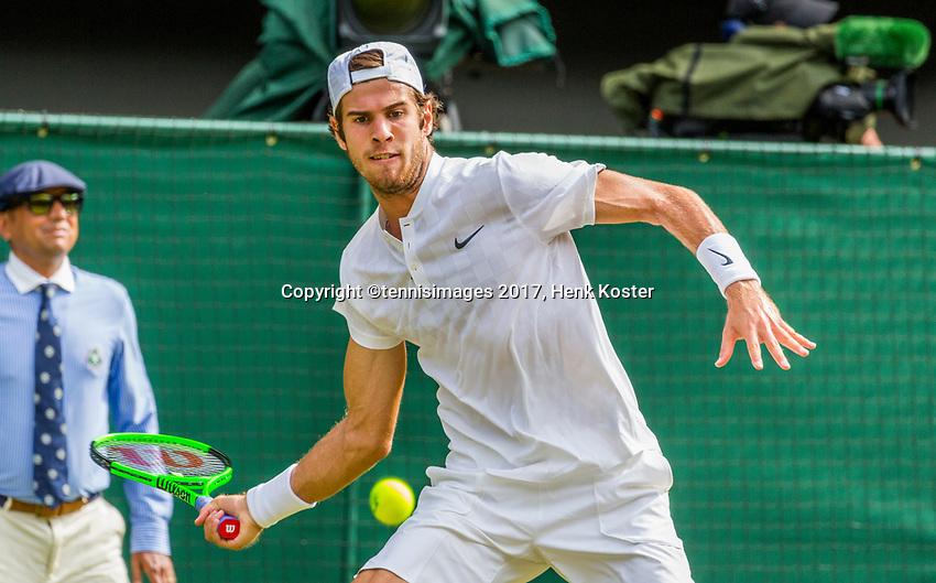 London, England, 7 th July, 2017, Tennis,  Wimbledon, Karen Khachanov (RUS)<br /> Photo: Henk Koster/tennisimages.com