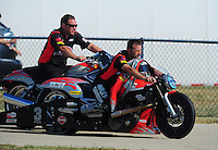 Jul, 9, 2011; Joliet, IL, USA: NHRA pro stock motorcycle rider Eddie Krawiec during qualifying for the Route 66 Nationals at Route 66 Raceway. Mandatory Credit: Mark J. Rebilas-