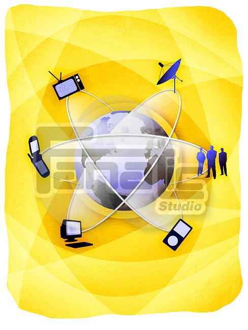 Communication products orbiting around a globe