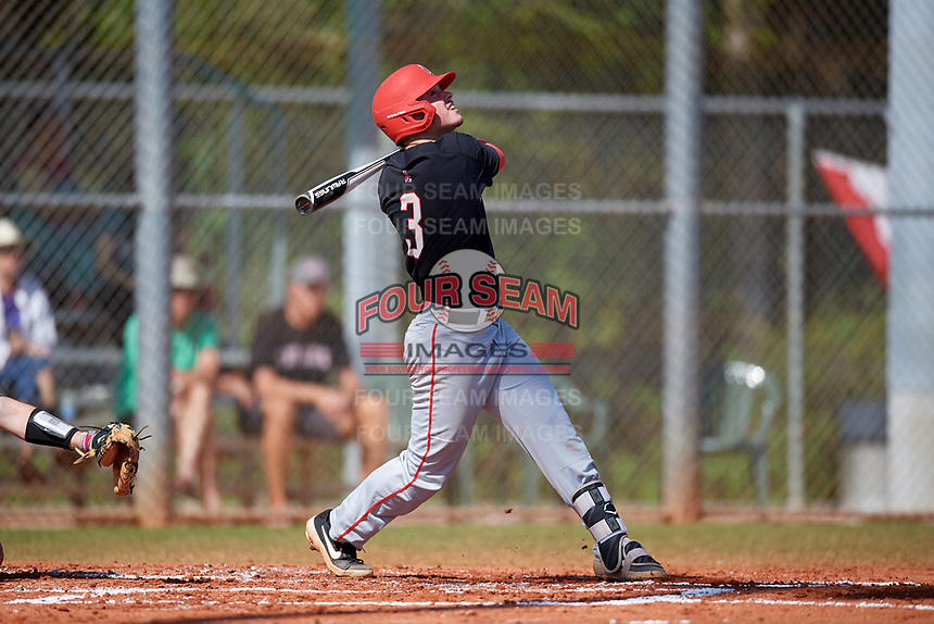 Ball State Cardinals shortstop Noah Powell (3) bats during a game against the Saint Joseph's Hawks on March 9, 2019 at North Charlotte Regional Park in Port Charlotte, Florida.  Ball State defeated Saint Joseph's 7-5.  (Mike Janes/Four Seam Images)