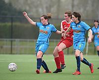 20180414 - DIKSMUIDE , BELGIUM : Diksmuide Merkem's Debbie Decoene (R) and Bieke Verstraete (L) with Kontich's Sanne Corten (M) pictured during a soccer match between the women teams of Famkes Westhoek Diksmuide Merkem and KFC Kontch  , during the 22th matchday in the 2017-2018  Eerste klasse - First Division season, Saturday 14 April 2018 . PHOTO SPORTPIX.BE | DIRK VUYLSTEKE