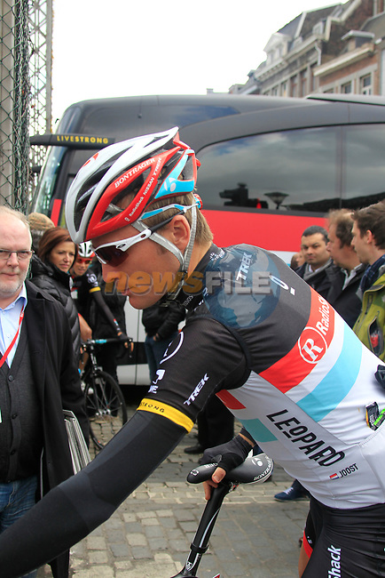 Joost Posthuma (NED) Radioshack-Nissan checks his bike at sign on before the start of the 98th edition of Liege-Bastogne-Liege outside the Palais des Princes-Eveques, running 257.5km from Liege to Ans, Belgium. 22nd April 2012.  <br /> (Photo by Eoin Clarke/NEWSFILE).