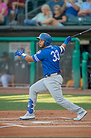 Keibert Ruiz (33) of the Oklahoma City Dodgers at bat against the Salt Lake Bees at Smith's Ballpark on August 1, 2019 in Salt Lake City, Utah. The Bees defeated the Dodgers 14-4. (Stephen Smith/Four Seam Images)