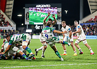 Friday 8th October 2021<br /> <br /> Callum Braley is put under pressure by Sam Carter during the URC Round 3 clash between Ulster Rugby and Benetton Rugby at Kingspan Stadium, Ravenhill Park, Belfast, Northern Ireland. Photo by John Dickson/Dicksondigital