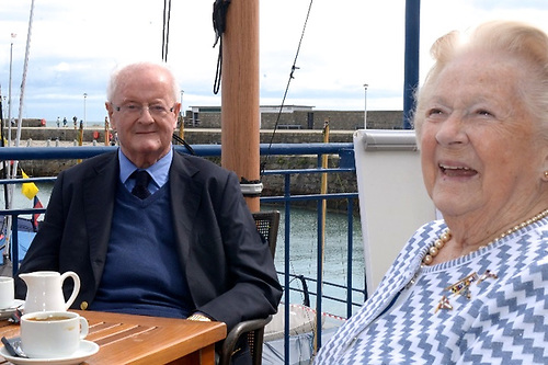 Clayton Love Jnr and Carmel Winkelmann at the National Yacht Club in August 2020 for the start of the Fastnet 450 Race from Dun Laoghaire to Cork Harbour via the Fastnet Rock. Photo courtesy NYC