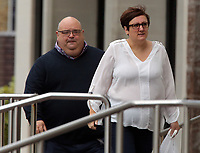 Pictured: Samantha Murray Evans (R), arrives at Swansea Crown Court. Friday 13 October 2017<br /> Re: A cop who won bravery awards had his career ruined when a woman he met through a dating website falsely claimed he had raped her.<br /> PC Paul Morgan, 52, suffered the indignity of being arrested by his own colleagues and held in a cell overnight after the allegation by Samantha Murray-Evans, 45, a woman he met through the Plenty of Fish website.<br /> Lengthy investigations followed adding to the PC's stress until it was eventually decided that Murray-Evans, who told PC Morgan she was a college lecturer and actress, had been lying.<br /> She is pleading guilty to perverting the course of justice when she appears at Swansea Crown Court this Friday. (October 13th).<br /> PC Morgan, a cop for 21 years, has been off sick for a year following the allegation and is of the belief that Murray-Evans lies were clear from the outset and he should have been believed rather than her.