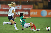 Renae Cuellar (10) of Mexico goes against Kristie Mewis (8) of the USWNT.  The USWNT defeated Mexico 7-0 during an international friendly, at RFK Stadium, Tuesday September 3 , 2013.