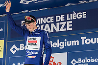 Jens Keukeleire (BEL/Lotto Soudal)  (.. and son) on podium after becoming the new leader in GC. <br /> <br /> <br /> <br /> <br /> Baloise Belgium Tour 2018<br /> Stage 4:  Wanze - Wanze 147.3km