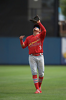 Palm Beach Cardinals second baseman Rayder Ascanio (3) catches a popup during a Florida State League game against the Charlotte Stone Crabs on April 14, 2019 at Charlotte Sports Park in Port Charlotte, Florida.  Palm Beach defeated Charlotte 5-3.  (Mike Janes/Four Seam Images)