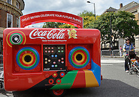 July 21, 2012: A Coca-Cola beverage carriage is parked at the intersection of Albion Road and Church Street close to St Mary's Church located in the town of Stoke Newington in London, England.