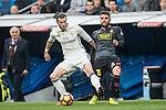 Gareth Bale of Real Madrid  fights for the ball with David Lopez of RCD Espanyol during the match Real Madrid vs RCD Espanyol, a La Liga match at the Santiago Bernabeu Stadium on 18 February 2017 in Madrid, Spain. Photo by Diego Gonzalez Souto / Power Sport Images