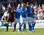 St Johnstone v Hearts...04.08.13 SPFL<br /> Gary Miller gets a well done from Gary McDonald<br /> Picture by Graeme Hart.<br /> Copyright Perthshire Picture Agency<br /> Tel: 01738 623350  Mobile: 07990 594431