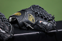 A Louisville Slugger glove sits on the dugout railing during the NCAA baseball game between the Delaware Blue Hens and the Wake Forest Demon Deacons at Wake Forest Baseball Park on February 13, 2015 in Winston-Salem, North Carolina.  The Demon Deacons defeated the Blue Hens 3-2.  (Brian Westerholt/Four Seam Images)