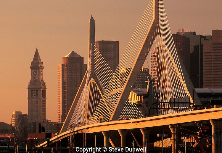 Zakim bridge skyline, with Customs House Tower, Boston, MA sunrise