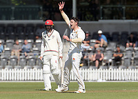 Hamish Bennett appeals during Day 1 of Round Two Plunket Shield cricket match between Canterbury and Wellington at Hagley Oval in Christchurch, New Zealand on Wednesday, 28 October 2020. Photo: Martin Hunter / lintottphoto.co.nz