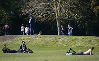 The public continue to leave homes and enjoy the weekend weather during the Covid-19 Pandemic in which the Government have given strict rules on only leaving the home for essential work, food shopping and one form of exercise per day.<br /> The Rye Park in High Wycombe, Bucks on 5 April 2020. Photo by Andy Rowland.