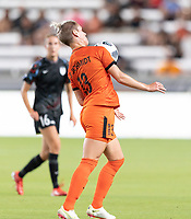 HOUSTON, TX - SEPTEMBER 10: Sophie Schmidt #13 of the Houston Dash gains control of a loose ball during a game between Chicago Red Stars and Houston Dash at BBVA Stadium on September 10, 2021 in Houston, Texas.