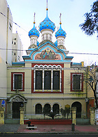 San Telmo neighborhood in Buenos Aires, one of the more ancient districts of the city, preserves an old atmosphere with Spanish style buildings, narrow streets, tango and markets. Is a point that any visitor must know in Buenos Aires<br /> In the picture, Ortodox Russian Church