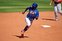 New York Mets Johneshwy Fargas (81) running the bases during a Major League Spring Training game against the St. Louis Cardinals on March 19, 2021 at Clover Park in St. Lucie, Florida.  (Mike Janes/Four Seam Images)