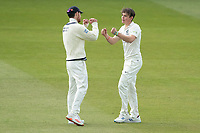 James Harris, Middlesex CCC fist bumps Ethan Bamber, Middlesex CCC on the wicket of Paine during Middlesex CCC vs Gloucestershire CCC, LV Insurance County Championship Group 2 Cricket at Lord's Cricket Ground on 7th May 2021