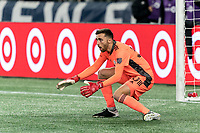FOXBOROUGH, MA - NOVEMBER 20: Matt Turner #30 of New England Revolution braces for a shot during the Audi 2020 MLS Cup Playoffs, Eastern Conference Play-In Round game between Montreal Impact and New England Revolution at Gillette Stadium on November 20, 2020 in Foxborough, Massachusetts.