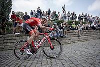 Jasper Stuyven (BEL/Trek-Segafredo) up the infamous Kapelmuur. <br /> <br /> Binckbank Tour 2018 (UCI World Tour)<br /> Stage 7: Lac de l'eau d'heure (BE) - Geraardsbergen (BE) 212.7km
