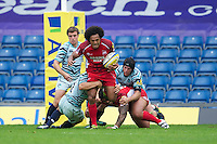 Hudson Tonga'uiha of London Welsh in action during the Aviva Premiership match between London Welsh and Leicester Tigers at the Kassam Stadium on Sunday 2nd September 2012 (Photo by Rob Munro)