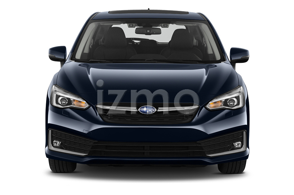 Car photography straight front view of a 2021 Subaru Impreza Premium 5 Door Hatchback Front View