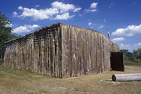 AJ0446, North Dakota, A replica of a building at Fort Mandan Historic Site in Washburn. Lewis & Clark Winter Quarters 1804-1805.