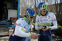 Michael Matthews (AUS/Orica-GreenEDGE) & Jens Keukeleire (BEL/Orica-GreenEDGE) planning a training/coffee ride with Team Orica-GreenEDGE at Monza (race circuit park) 1 day before Milan-San Remo