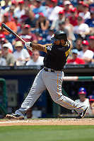 Pittsburgh Pirates  third baseman Pedro Alvarez #24 swings during the Major League Baseball game against the Philadelphia Phillies on June 28, 2012 at Citizens Bank Park in Philadelphia, Pennsylvania. The Pirates defeated the Phillies 5-4. (Andrew Woolley/Four Seam Images).