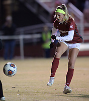 NWA Democrat-Gazette/ANDY SHUPE<br /> Arkansas North Texas Friday, Nov. 15, 2019, during the second half of play in the first round of the NCAA women's soccer tournament at Razorback Field in Fayetteville. Visit nwadg.com/photos to see more photographs from the match.