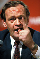 File Photo, circa 1988 - <br /> Canadian Liberal Candidate (now Canadian Prime Minister) Jean Chretien raise his index while giving  a speech during the Canadian Liberal Party leadership race, Montreal