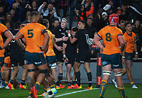 The All Blacks celebrate David Havili's try during the Bledisloe Cup rugby match between the New Zealand All Blacks and Australia Wallabies at Eden Park in Auckland, New Zealand on Saturday, 7 August 2021. Photo: Dave Lintott / lintottphoto.co.nz