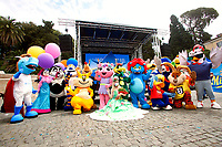 Demonstration of the workers of the theme parks, as the Government has scheduled the reopening on 1st of July, while they're asking to start working sooner. Piazza del Popolo square was filled with cartoon characters and parks mascots.<br /> Rome (Italy), May 11th 2021<br /> Photo Samantha Zucchi Insidefoto