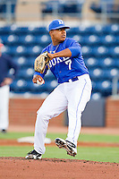 Duke Blue Devils starting pitcher Marcus Stroman #7 in action against the Virginia Cavaliers at Durham Bulls Athletic Park on April 20, 2012 in Durham, North Carolina.  The Blue Devils defeated the Cavaliers 6-3.  (Brian Westerholt/Four Seam Images)