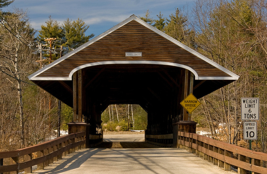 The well kept Rowell Covered Bridge, spanning the Contoocook River in Hopkinton New Hampshire.