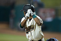 Matthew Fraizer (14) of the Greensboro Grasshoppers at bat against the Wilmington Blue Rocks at First National Bank Field on May 25, 2021 in Greensboro, North Carolina. (Brian Westerholt/Four Seam Images)