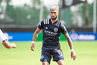 LAKE BUENA VISTA, FL - JULY 9: #17 Gary Mackay-Steven of NYCFC defending during a game between New York City FC and Philadelphia Union at Wide World of Sports on July 9, 2020 in Lake Buena Vista, Florida.