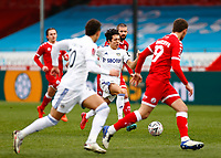 10th January 2021; Broadfield Stadium, Crawley, Sussex, England; English FA Cup Football, Crawley Town versus Leeds United; Ian Poveda of Leeds united breaks forward on the ball as Tunnicliffe covers the run