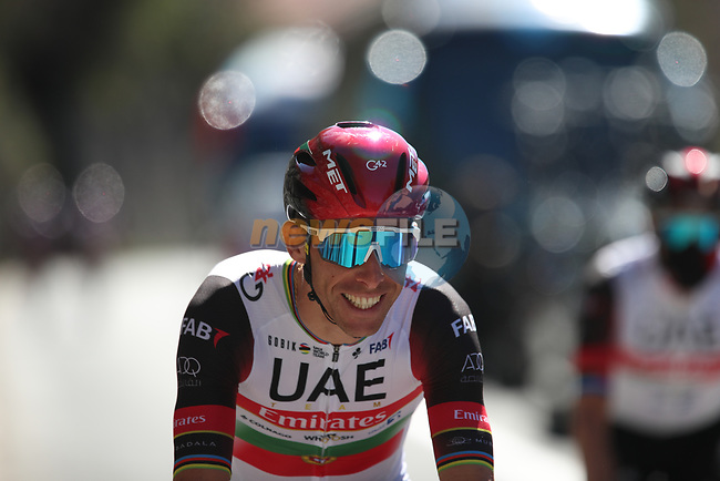 Rui Costa (POR) UAE Team Emirates heads to sign on before Stage 8 of Paris-Nice 2021, running 92.7km from Le Plan-du-Var to Levens, France. 14th March 2021.<br /> Picture: ASO/Fabien Boukla | Cyclefile<br /> <br /> All photos usage must carry mandatory copyright credit (© Cyclefile | ASO/Fabien Boukla)
