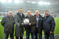 Pictured: Friday 26 December 2014<br /> Re: Premier League, Swansea City FC v Aston Villa at the Liberty Stadium, Swansea, south Wales, UK.<br /> <br /> Lee Trundle pictured with match sponsors