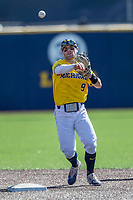 Michigan Wolverines shortstop Michael Brdar (9) makes a throw to first base against the Illinois Fighting Illini during the NCAA baseball game on April 8, 2017 at Ray Fisher Stadium in Ann Arbor, Michigan. Michigan defeated Illinois 7-0. (Andrew Woolley/Four Seam Images)