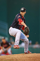 Peoria Chiefs pitcher Nick Lomascolo (29) delivers a pitch during a game against the Lansing Lugnuts on June 6, 2015 at Cooley Law School Stadium in Lansing, Michigan.  Lansing defeated Peoria 6-2.  (Mike Janes/Four Seam Images)