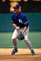 Jeff King of the Kansas City Royals plays in a baseball game at Edison International Field during the 1998 season in Anaheim, California. (Larry Goren/Four Seam Images)