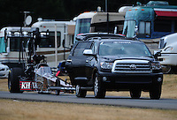 Aug. 6, 2011; Kent, WA, USA; NHRA top fuel dragster driver Larry Dixon during qualifying for the Northwest Nationals at Pacific Raceways. Mandatory Credit: Mark J. Rebilas-