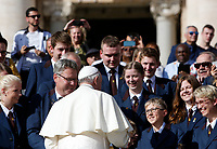Pope Francis greets a group of German musicians at the end of the weekly general audience in St. Peter's Square at the Vatican City, October 16, 2019.<br /> UPDATE IMAGES PRESS/Riccardo De Luca<br /> <br /> STRICTLY ONLY FOR EDITORIAL USE